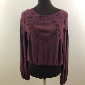 FREE PEOPLE | Maroon Lace Top